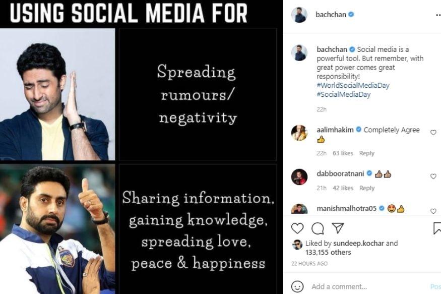 Abhishek Bachchan, Abhishek Bachchan shares meme, World Social Media Day, Social Media, Viral Photo, Abhishek Bachchan Meme viral, Viral Post, News18, Abhishek Bachchan, social media, Abhishek Bachchan meme
