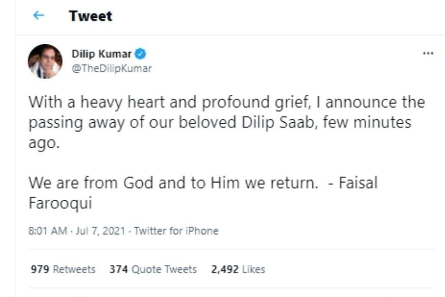 Dilip Kumar, Dilip Kumar dies, Dilip Kumar News, Bollywood, बॉलीवुड, दिलीप कुमार
