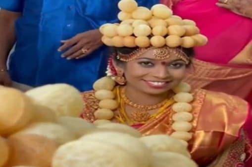 गोलगप्पे की शौकीन दुल्हन (Golgappa lover bride video) को शादी पर पहनाया गया पानीपूरी का मुकुट.
