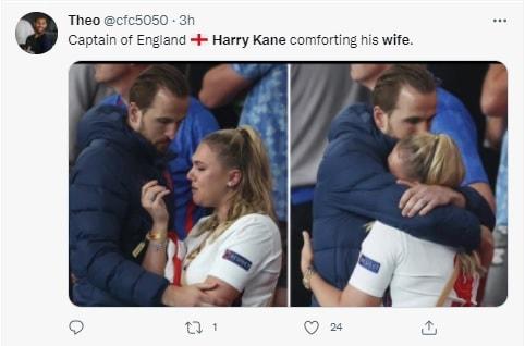 हार के बाद वह स्टेडियम में ही फूट फूटकर रोने लगी. जिसके बाद केन को आकर उन्हें संभालना पड़ा. इंग्लैंड की हार से टूट चुकी पत्नी को केन ने गले लगाकर संभाला.