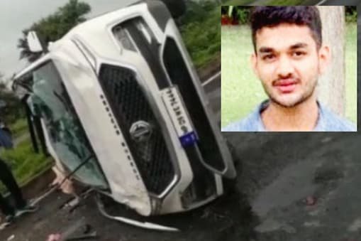 धार फोरलेन के पास अनियंत्रित होकर पलटी कार. इस हादसे में शूटर नमन पालीवाल (इनसेट में) की मौत हो गई.