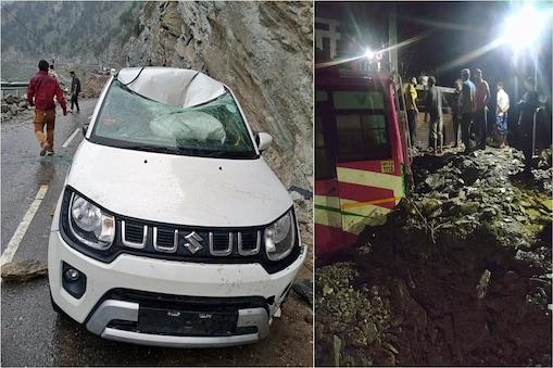 हिमाचल में भारी बारिश से गाड़़ियों को नुकसान पहुंचा है.