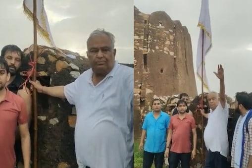 सांसद किरोड़ीलाल मीणा ने आमागढ़ किले के मंदिर पर झंडा फहराया और मंदिर पर पूजा-पाठ का अधिकार मीणा समाज को देने की मांग की.