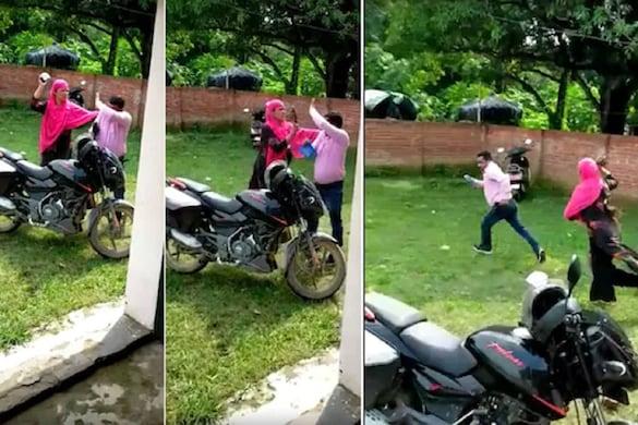 सिद्धार्थनगर का एक वीडियो वायरल हो रहा है, जिसमें नाराज महिला शिक्षामित्र प्रधानाध्यापक को चप्पल से पिटाई करती दिख रही है.