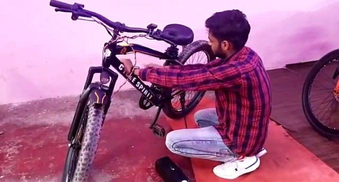 पांच मिनट में ई-साईकिल में तब्दील हो जाएगी मैनुअल साईकिल