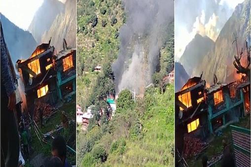 किन्नौर के रामनी गांव में आग से आठ घर खाक हो गए.