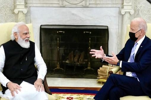 व्हाइट हाउस में अमेरिकी राष्ट्रपति जो बाइडेन से मुलाकात के दौरान पीएम नरेंद्र मोदी.