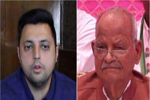पूर्व केंद्रीय राज्य मंत्री पंडित सुखराम और उनका पोता आश्रय शर्मा.