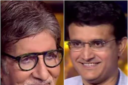 KCB 13 में जब अमिताभ बच्चन होस्ट की जगह हॉट सीट पर पहुंचे और सेलिब्रेटी गेस्ट सौरव गांगुली से हुआ उनका सामना. (SonyTV Instagram)
