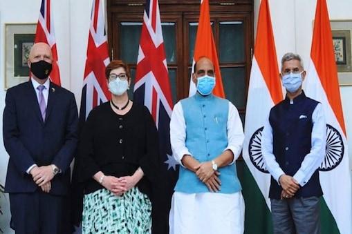 विदेश मंत्री एस जयशंकर और रक्षा मंत्री राजनाथ सिंह ने अपने ऑस्ट्रेलियाई समकक्ष मारिस पायने और पीटर डटन के साथ.