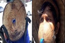 नारियल की खोल से शख्स ने बनाया जुगाड़ू मास्क, देखते ही पुलिस ने दी ऐसी सजा