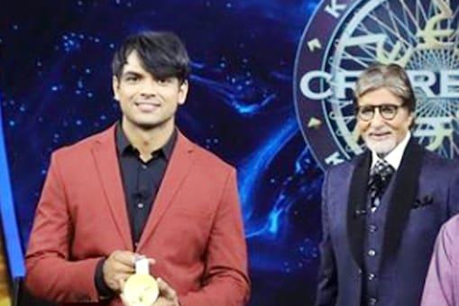 नीरज चोपड़ा बतौर मेहमान केबीसी-13 के एपिसोड में शामिल हुए तब होस्ट अमिताभ बच्चन को हरियाणवी सिखाई. (Instagram/Neeraj Chopra)