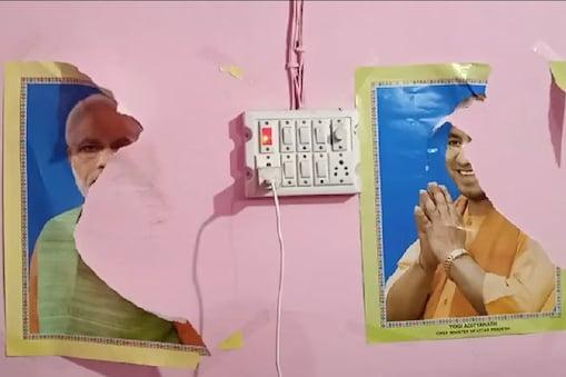 तोड़फोड़ करने आए लोगों ने कार्यालय में लगे पीएम मोदी और सीएम योगी के पोस्टर फाड़ डाले.