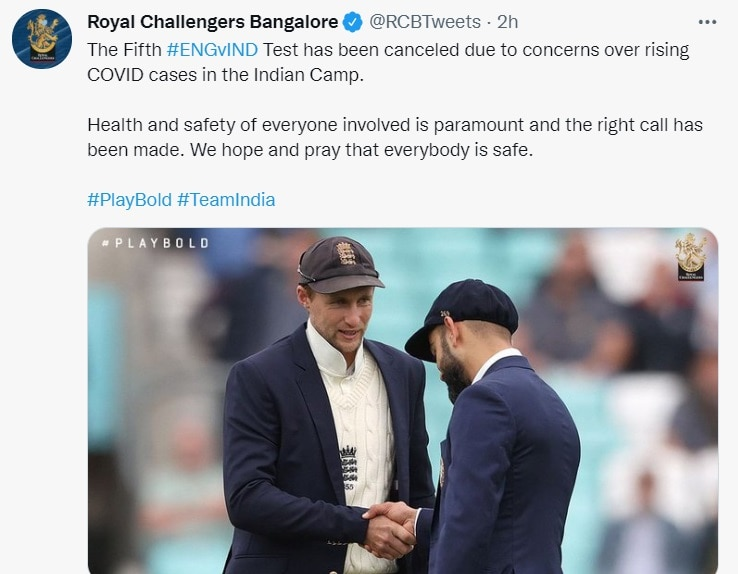 rcb tweet IND vs ENG: 'India let England cricket down', Twitter ruckus over cancellation of Manchester Test