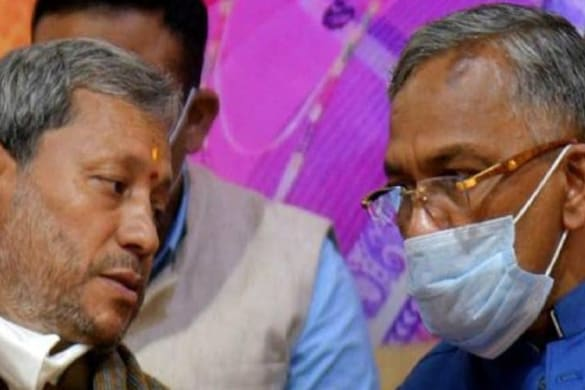 पूर्व मुख्यमंत्री तीरथ सिंह रावत और त्रिवेंद्र सिंह रावत.