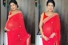 PICS: सुष्मिता सेन की भाभी चारू असोपा ने रेड साड़ी में फ्लॉन्ट किया बेबी बंप