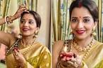 पहले मांग में सजाया सिंदूर फिर जलाया दीपक, सज-धजकर Monalisa ने पति से दूर यूं मनाया Karva Chauth