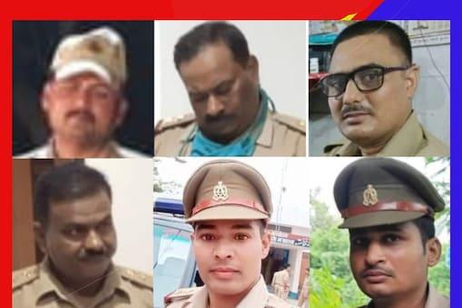 ये छह पुलिसकर्मी हैं फरार (बाएं से दाएं) प्रशांत, अक्षय, कमलेश यादव. (नीचे बाएं से दाएं) जगत नारायण, विजय यादव, राहुल दुबे.
