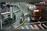 Watch: Pillar Crashes Into Bus Roof