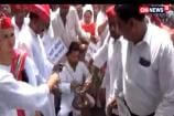 SP Protests Against Fuel Price Hike Ouside DM Office In Moradabad