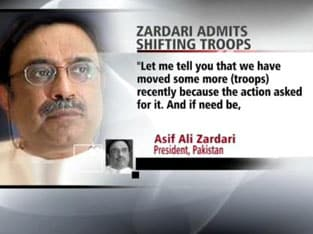 Zardari admits moving troops from border with India