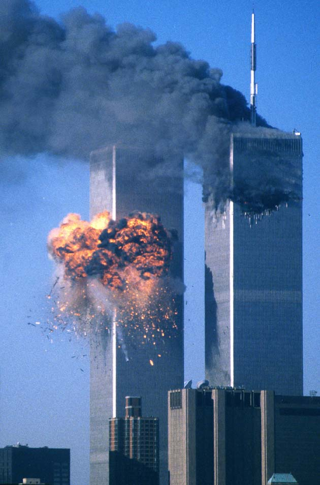The second tower of the World Trade Center bursts into flames after being hit by a hijacked airplane in New York in this September 11, 2001.