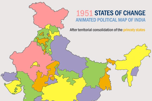 Changing states: An animated political map of the Republic of India ...
