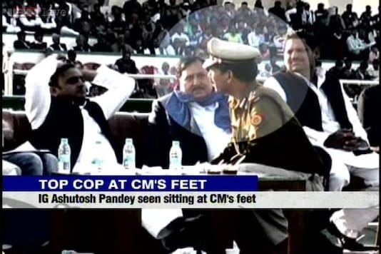 UP Police IG seen 'sitting' at Akhilesh Yadav's feet at Saifai event
