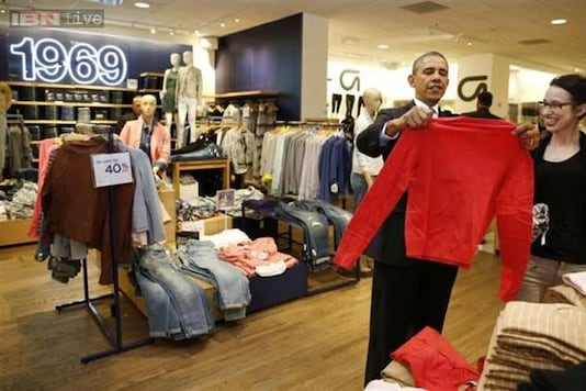 Barack Obama shops for wife and daughters at Gap, says his goal was to make sure that he 'didn't completely screw up'