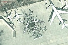 Do these Google Maps satellite images actually show a plane blown up to pieces at Karachi Airport?