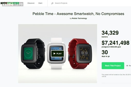 Pebble Time smartwatch raises more than $1 million in less than an hour of listing on Kickstarter