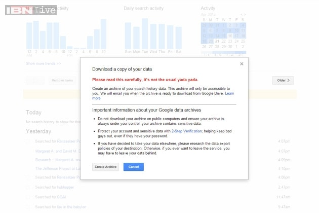 You can now download your entire Google search history