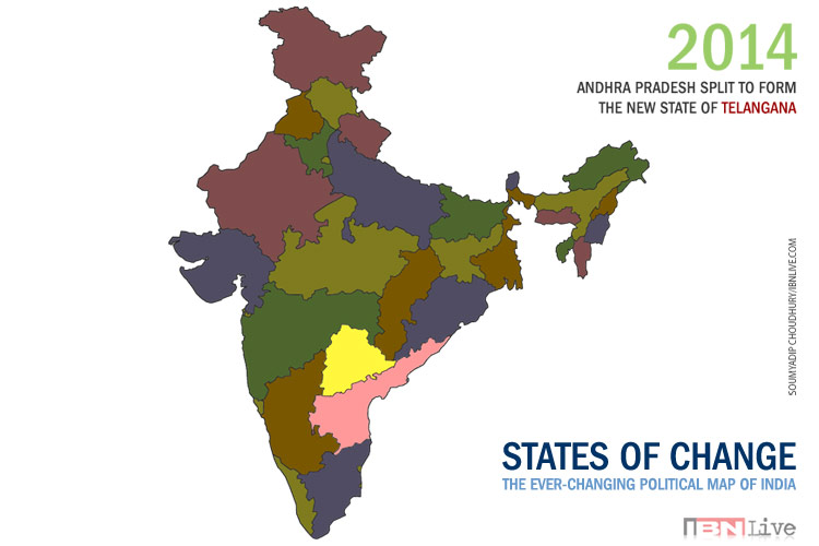 Latest India Map.1 Year Of Telangana How The Map Of India Has Evolved Since 1951