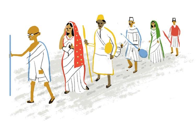 Gandhi salt march sketch