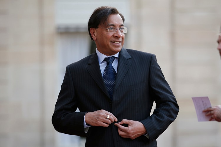 ArcelorMittal Chairman Lakshmi Mittal arrives to attend an official dinner at the Elysee Palace in Paris