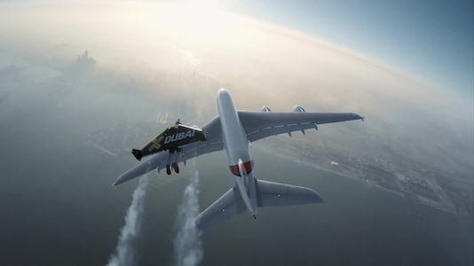 Daredevils in jetpacks chase Airbus A380 over Dubai