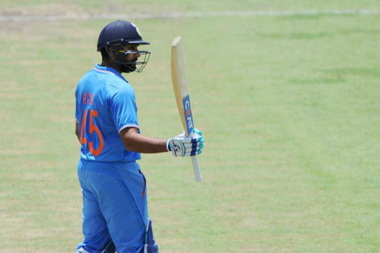 Rohit Sharma celebrates after becoming the 1st Indian to score a ODI ton in Perth. (Photo Credit: Getty Images)