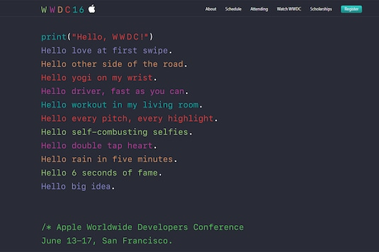 The WWDC 2016 will play host to multiple announcements which are likely to include an updated list of Apple software and a sneak peak into the tech giant's upcoming products. Image: Apple WWDC 2016 announcement