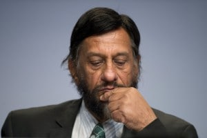 IPCC Working Group III Chairman Rajendra Pachauri attends a news conference to present Working Group III's summary for policymakers at the IPCC in Berlin