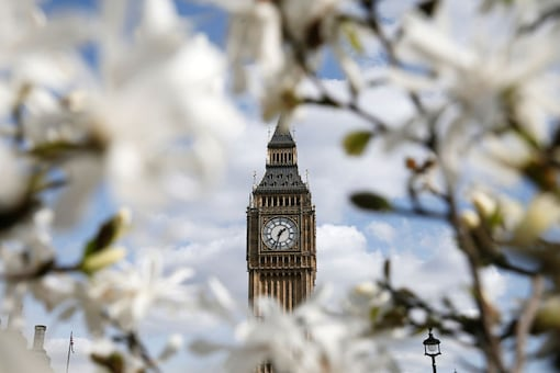 The Big Ben clock tower is seen through blooming flowers in central London. (Reuters)