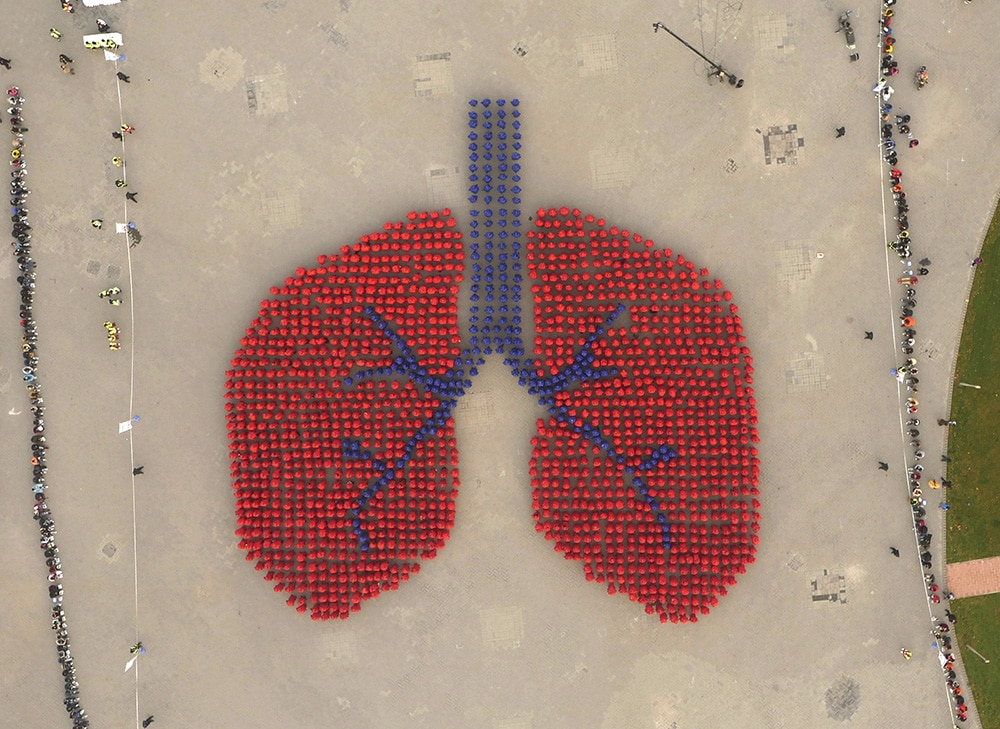 An aerial view shows participants wearing blue and red coats forming an image depicting a human lung, during an Guinness World Record attempt of the largest human image of an organ, on a hazy day in Beijing, November 15, 2015. Over 1,500 people joined the successful attempt on Sunday which was organized by a local health research centre hoping to improve awareness of lung health, local media reported. Picture taken November 15, 2015. REUTERS/Stringer CHINA OUT. NO COMMERCIAL OR EDITORIAL SALES IN CHINA.      TPX IMAGES OF THE DAY      - RTS793I
