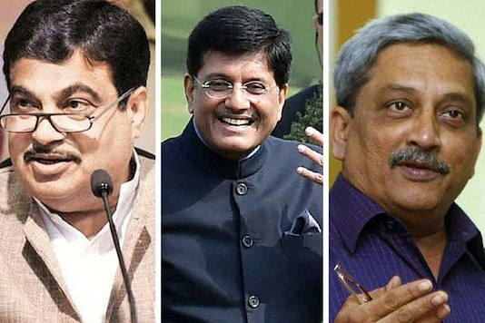 File photos of Transport Minister Nitin Gadkari, Power Minister Piyush Goyal and Defence Minister Manohar Parrikar. (PTI)