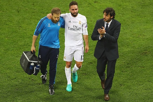 File image of Dani Carvajal being led off the field after getting injured during the UEFA Champions League final. (Getty Images)