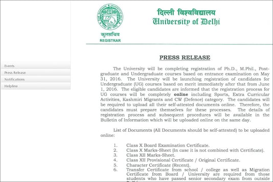 The Delhi University has announced that the application process will be fully online including submission of the documents. (Photo: du.ac.in)