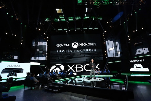 Phil Spencer, Head of Xbox, discusses the Xbox One family of devices including the newly unveiled Project Scorpio and Xbox One S at the Xbox E3 2016 Briefing on Monday, June 13, 2016 in Los Angeles. (Photo by Casey Rodgers/Invision for Microsoft/AP Images)
