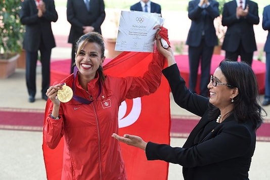 Tunisian 3000m steeplechase competitor Habiba Ghribi poses for a picture. (Getty Images)