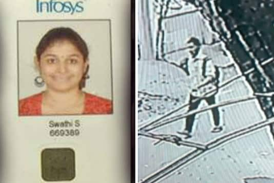 File photo of murdered Infosys employee Swathi (L) and suspect's image (R) released by the Chennai police. (Courtesy: Facebook)