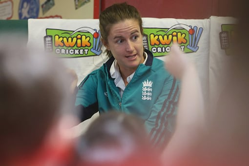 File image of Lydia Greenway taking part in a Q&A session with children. (Getty Images)