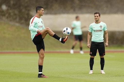 Portugal's Cristiano Ronaldo during training. (Reuters Image)