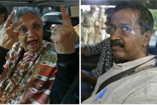 File photo of Sheila Dikshit  (L) and Delhi Chief Minister Arvind Kejriwal.